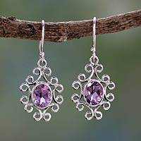 Amethyst dangle earrings, 'Regal Halo' - Hand Crafted Amethyst Dangle Earrings