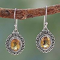 Citrine dangle earrings, 'Golden Charm'