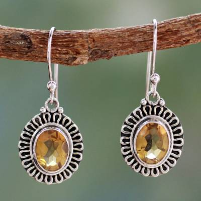 Citrine dangle earrings, 'Golden Charm' - India Artisan Crafted Faceted Citrine Earrings