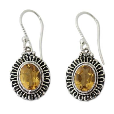 India Artisan Crafted Faceted Citrine Earrings