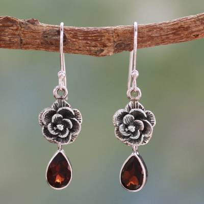 Garnet flower earrings, 'Scarlet Rose' - Garnet Floral jewellery from India