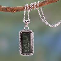 Moss agate pendant necklace, 'Forest Moss' - Moss Agate Necklace