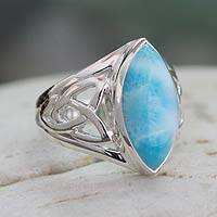 Larimar ring, 'Halcyon Sky' - Modern Larimar Ring in Sterling Silver