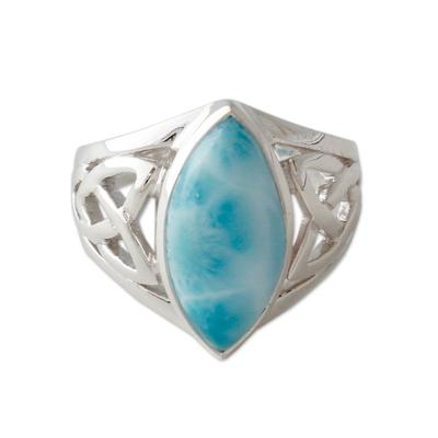 Larimar ring, 'Halcyon Sky' - Modern Larimar Ring in Sterling Silver