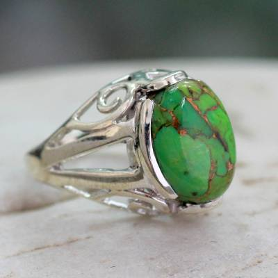 Sterling silver ring, 'Forest Quest' - Green Composite Turquoise Ring