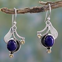 Lapis lazuli and citrine dangle earrings, 'Dew Blossom' - Lapis Lazuli and Citrine Hook Earrings