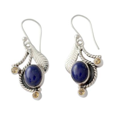 Lapis Lazuli and Citrine Hook Earrings