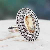 Citrine cocktail ring, 'Mumbai Sophisticate' - Silver Citrine Artisinal Ring