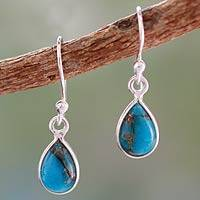 Sterling silver dangle earrings, 'Beautiful Blue Goddess' - Composite Turquoise on Sterling Silver Earrings