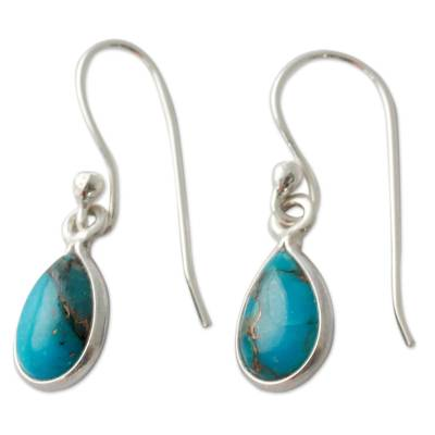 Composite Turquoise on Sterling Silver Earrings