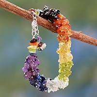 Multi-gemstone chakra bracelet, 'Tropical' - Handmade Beaded Gemstone Chakra Bracelet from India