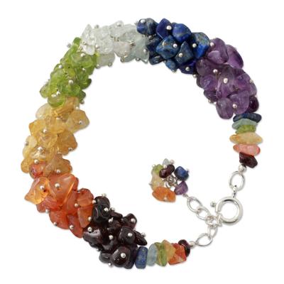 Multi-gemstone chakra bracelet, 'Tropical' - Handmade Beaded Gemstone Chakra Bracelet from India