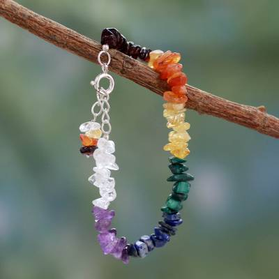 Multi-gemstone chakra bracelet, 'Peaceful Mantra' - Handmade Beaded Gemstone Chakra Bracelet from India