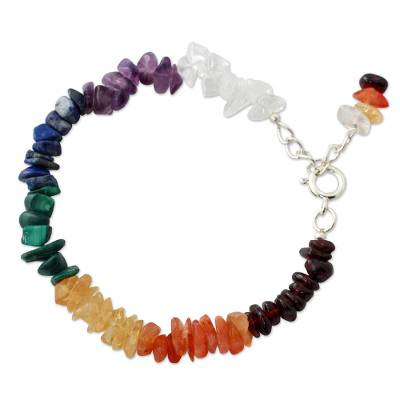 Multi-gemstone chakra bracelet, 'Peaceful Mantra' - Handmade Beaded Gemstone Chakra Bracelet from India