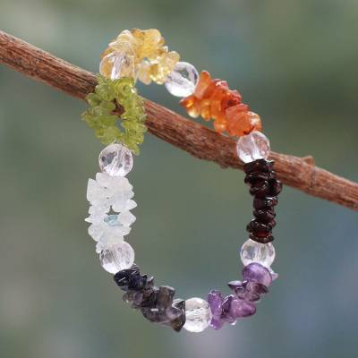 Multi-gemstone stretch chakra bracelet, 'Peaceful Friendship' - Handmade Stretch Gemstone Chakra Bracelet from India