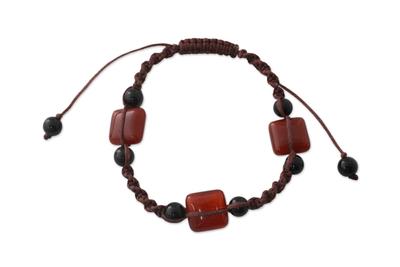 India Macrame Agate and Onyx Bracelet