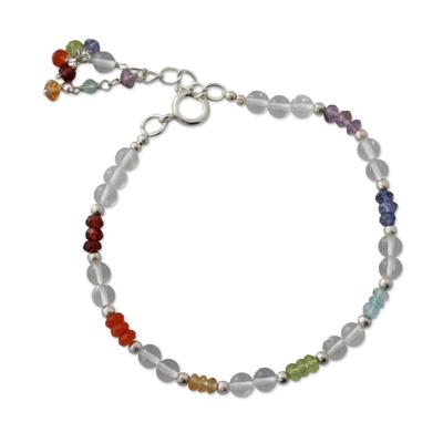 Multi gemstone chakra bracelet, 'Inner Serenity' - Indian Gemstone Chakra Bracelet
