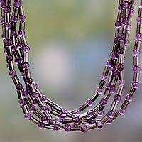 Amethyst and hematite beaded necklace, 'Spark of Grandeur' - Handcrafted Amethyst and Hematite Necklace Beaded Jewelry