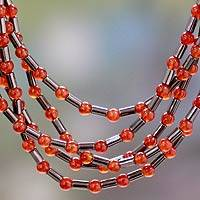 Carnelian and hematite beaded necklace, 'Spark of Boldness' - Handcrafted Carnelian and Hematite Necklace Beaded Jewelry