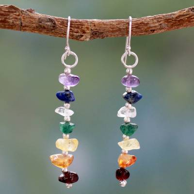 Multi gemstone chakra earrings, 'Jubilance' - Gemstone Chakra Theme Dangle Earrings
