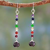 Multi gemstone chakra earrings, 'Gracious' - Hand Crafted Gemstone Chakra Theme Dangle Earrings