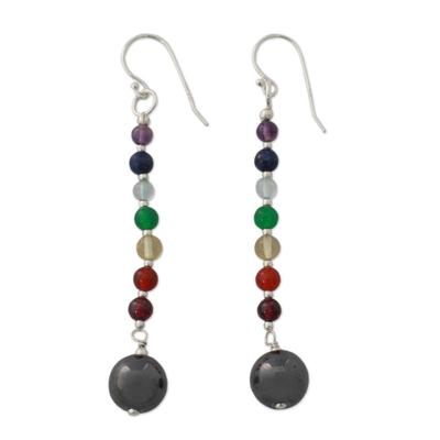Multi gemstone chakra earrings, 'Gracious' - Hand Crafted Gemstone Chakra Theme Dangle Earrings