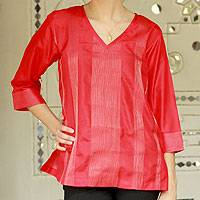 Silk tunic, 'Holiday Crimson' - Women's Red Silk Tunic with Golden Zari Embroidery