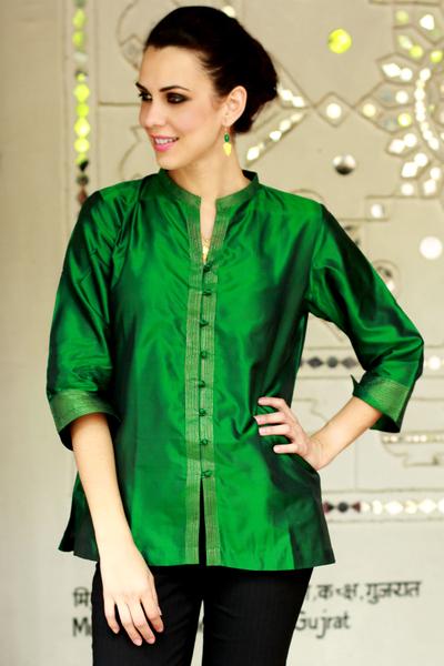 98b1dfed75e Silk blouse, 'Indian Emerald' - Women's Embroidered Green Silk Tunic