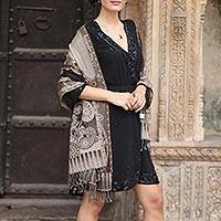 Wool shawl, 'Executive Elegance' - Warm Brown and Beige Wool Jamawar Shawl