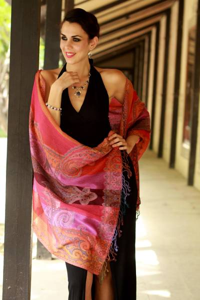 Wool shawl, 'Holi Parade' - Warm Multicolored Wool Jamawar Shawl Wrap