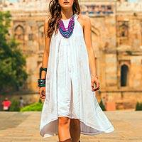 White cotton sundress, 'Indian Summer' - Indian Smocked White Cotton Sundress for Women
