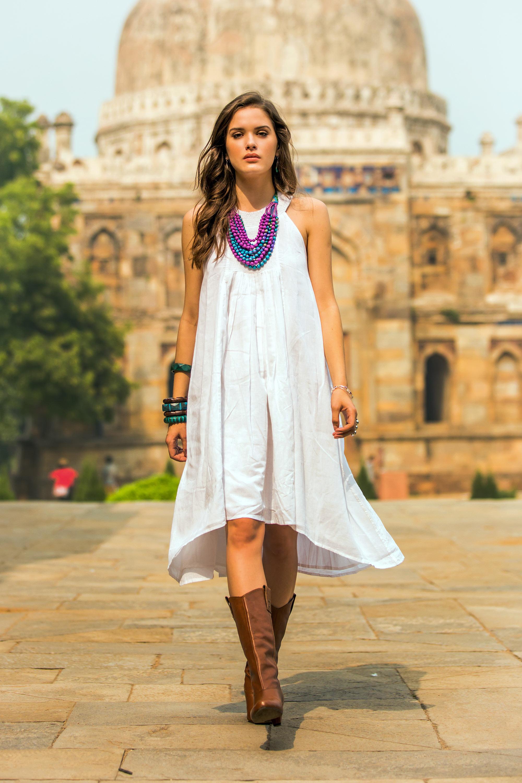 Indian Smocked White Cotton Sundress for Women - Indian Summer ...