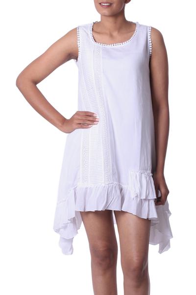 White Cotton Sleeveless Sundress from India