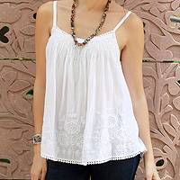 Cotton camisole top, 'White Chrysanthemums' - Embroidered White Cotton Top