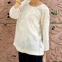Cotton blend blouse, 'Floral Nature' - Ecru Cotton Blend Women's Blouse with Lace Accents