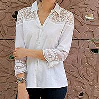 Cotton shirt, 'Flirty Foliage' - Lace Trim White Cotton Shirt