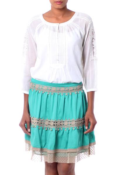 Lace Trim Green Viscose Skirt