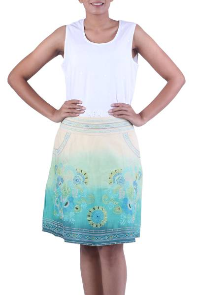 Green and Turquoise Lined Embroidered Skirt with Pockets