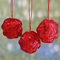 Beaded ornaments, 'Red Rose Glitz' (set of 3) - Hand Made Beaded Christmas Ornaments (Set of 3)