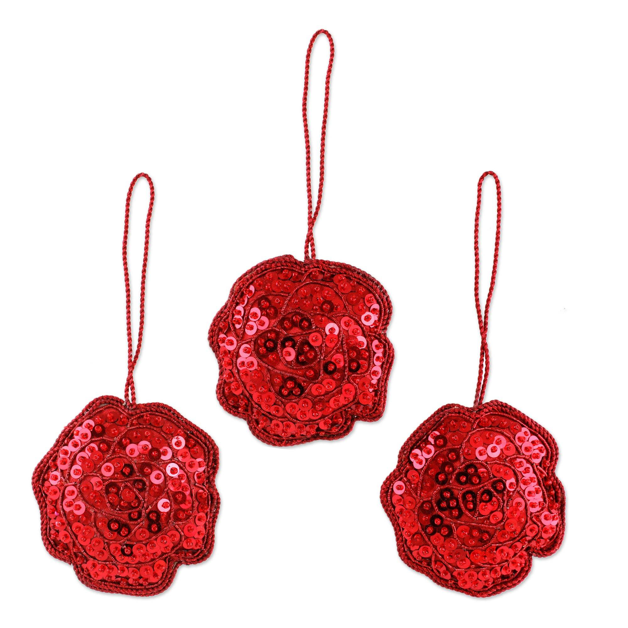 Beaded Christmas Ornaments.Hand Made Beaded Christmas Ornaments Set Of 3 Red Rose Glitz