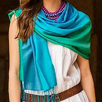 Featured review for Silk and wool shawl, Turquoise Shimmer