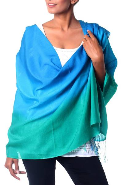 Silk and wool shawl, 'Turquoise Shimmer' - Turquoise Ombre Silk and Wool Blend Shawl