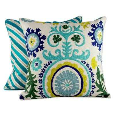 Two Embroidered Cushion Covers in Aqua Tones from India Aqua