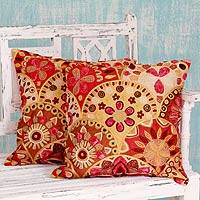 Embroidered cushion covers, 'Fiery Flowers' (pair) - 2 Embroidered Indian Floral Cushion Covers Set
