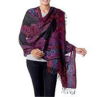 Jamawar wool shawl, 'Purple Extravaganza' - Jamawar Style Wool Shawl Wrap in Purple over Black