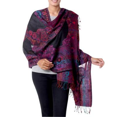 Jamawar wool shawl, 'Purple Extravaganza' - Jamawar Style Wool Shawl Wrap in Purple over Black