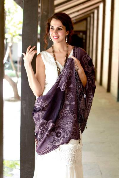 Jamawar wool shawl, 'Lavender Extravaganza' - Jamawar Style Wool Shawl Wrap in Pale Purple over Black