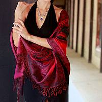 Jamawar wool shawl, 'Bold Extravaganza' - Floral Wool Jamawar Shawl Wrap in Red Purple and Black