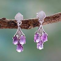 Amethyst dangle earrings, 'Perfect Trio' - Amethyst Dangle Earrings