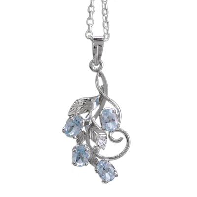 Blue topaz pendant necklace, 'Elegant Azure' - 4 Carat Blue Topaz Necklace